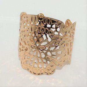 Gold Filigree Wide Cuff Bracelet